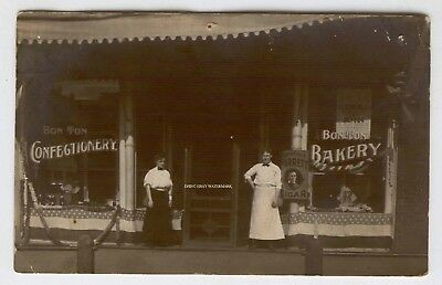 1910-18 Real Photo Bon Ton Bakery Confectionery El Reno Oklahoma 4th July Decor