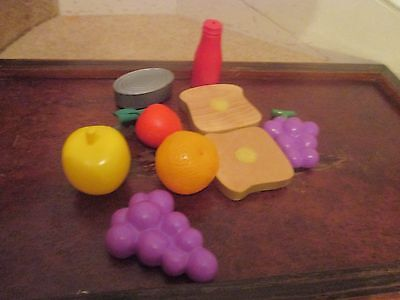 Selection of plastic &  wooden toy food-GRAPES, KETCHUP,ORANGE, WOODEN BREAD ETC