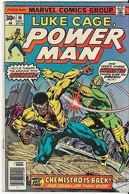 1976 Luke Cage Power Man Issue 36 Marvel Comic Book Great Color Early Bronze Age