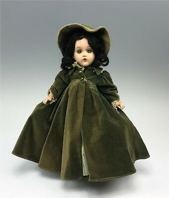 All Original Vintage Madame Alexander Scarlett O'Hara Doll Green Dress & Coat