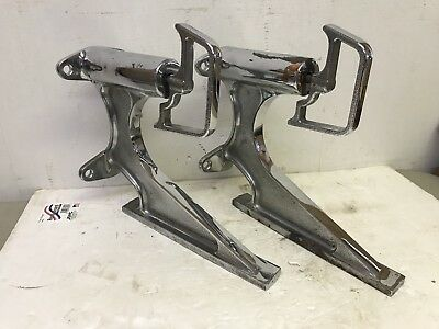 Pair Vintage Ornate Chrome-Plated Brass Ladder Brackets Mount Fire Engine Truck