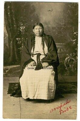 1912 Real Photo Postcard Arapaho Tribe Native American Woman Oklahoma