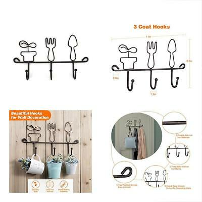 Wall Mounted Utility Hooks Hanging Rack,11 Inch Cast Iron 3 Kitchen Home Keys