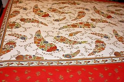 "Tablecloth 60 x 90"" Floral White Provence Style Orange"