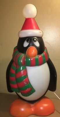 Chilly Willy Penguin Blow Mold Xmas Scarf Red Green Santa Hat - 29""