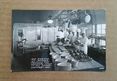 Angelo's Place Restaurant,Kitchen View,Gulfport,Miss.,RPPC,1930's-40's