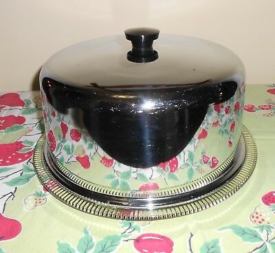Vintage Cake Carrier Saver Pretty Glass Footed Plate with Chrome Cover