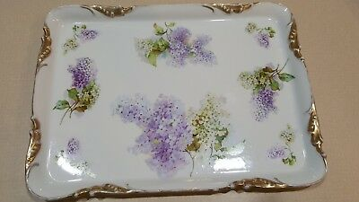 Beautiful Flowered Antique VANITY TRAY SERVING PLATTER Prov SXE E S Germany GOLD