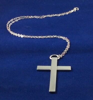 """BUFFY the VAMPIRE SLAYER Sterling SILVER CROSS Angel HELLMOUTH Replica 24"""" CHAIN"""