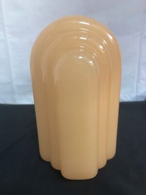 One Vintage Art Deco Glossy Glass Electric Wall Sconce Slip Shade in Peach Used