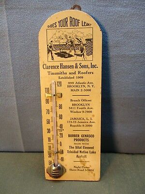 vintage Advertising Thermometer wood, Brooklyn NY New York tinsmith roofers