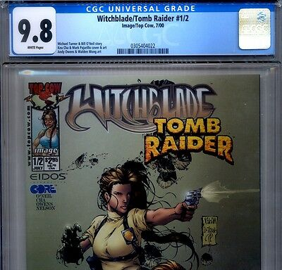 PRIMO:  WITCHBLADE / TOMB RAIDER #1/2 NM/MT 9.8 CGC HIGHEST Top Cow comic lot