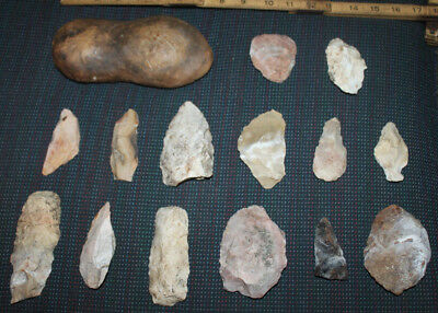 """Ancient Native Armerican Artifacts Axe Head 7.5"""" Arrowheads Stone Tools  Foot?"""