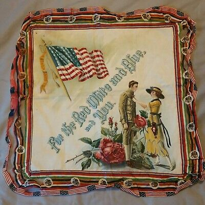 "U.S. Army World War 1 Linen Print ""For The Red White And Blue, And You"" Vibrant"