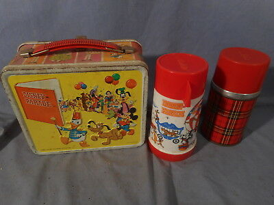 Vintage Aladdin Industries Tin Litho Metal Disney On Parade Lunchbox And Thermos