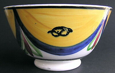 Antique Staffordshire Pearlware Hand-Painted Swags Bow Knots Bowl Handleless Cup