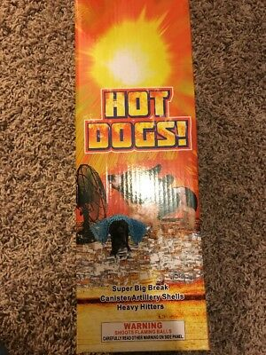 Empty Collectible Hot Dog Firework Box, Empty tube mortar Box, Empty Salute Box