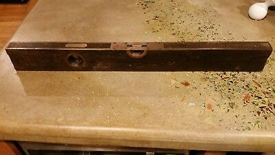 "Stanley Good cond Wooden Level Tool 28"" Wood Brass Bound"
