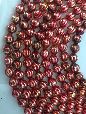 Vintage Mercury Glass Christmas Beads Garland Red Gold Ribbed Rare 84""