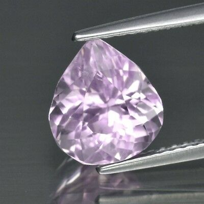3.12ct 9x8.2mm Pear Natural Untreated Light Pink Kunzite