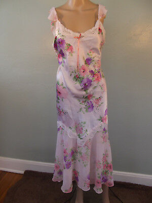 Vintage 1990s~ CALIFORNIA DYNASTY Pink Floral Print, Bias Cut Nightgown~S