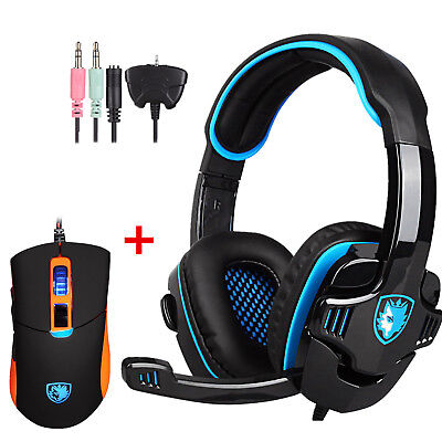 SADES SA-708 GT Gaming Headset With  Microphone For PS4 xbox + S8 Gaming Mouse