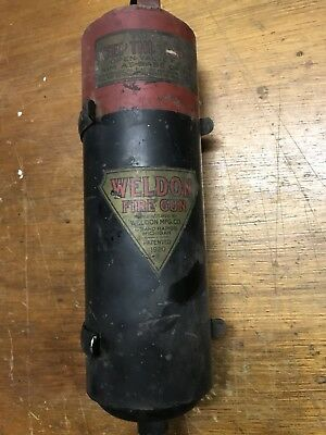 "Vintage WELDON ""FIRE GUN"" Grand Rapids MI firefighting fire extinguisher 1920"