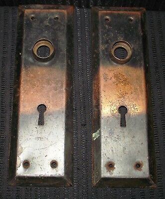 Vintage Matching Pair Of Skeleton Key Door Lock Plates With Japanned Finish