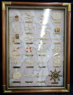 VTG Sailors' Knots & Wooden Model Ship Parts On Puget Sound Map In Shadow Box