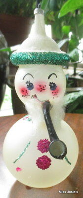 VTG De Carlini Snowman with Pipe Christmas Ornament - 50s 60s MCM -  EXC!