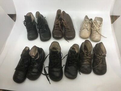 Lot of 6 pair vintage lace-up baby & toddler shoes over 70 years old