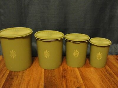 Vintage Tupperware Avocado Green Canister Set 4-piece with Lids
