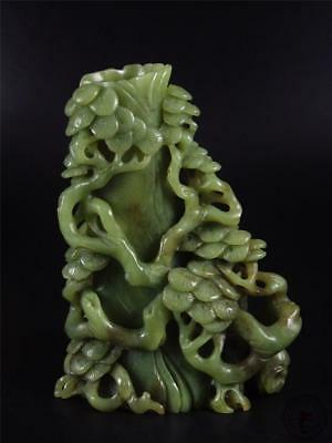 Fine Old Chinese Celadon Nephrite Jade Brush Pot  Statue OLD PINE TREES AT SIDE