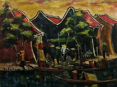 20th c. ASIAN PAINTING Bangkok Floating Markets MYSTERY ARTIST Illegibly Signed