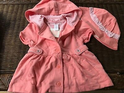 NWT 2/3t girls Janie & Jack lined cotton hoodie jacket and hat with stripes