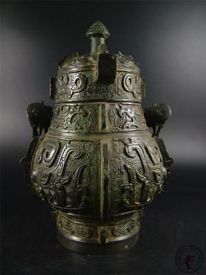 Very Large Antique Old Chinese Bronze Made Vase Pot Statue Collectibles