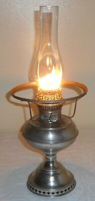 Nickel No.1 Size Rayo Junior Center Draft Lamp - Holds Oil Works - Parts Restore