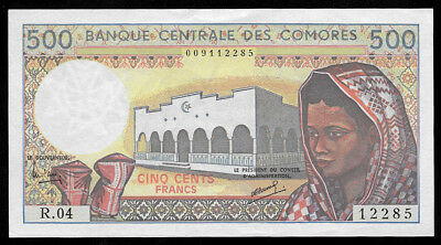 World Paper Money - Comoros 500 Francs ND 1986 P10a @ AU