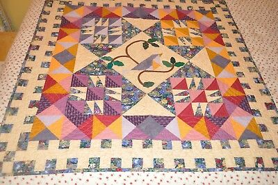 """Vintage made quilt hand stitched signed and dated Fort Worth TX """"1996"""""""