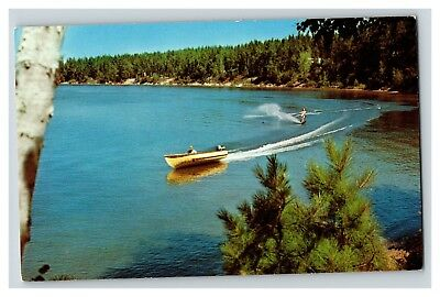 Greetings from Traverse City MI Water Skiing Chrome 1960's Postcard E17