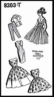 BARBIE TEEN Fashion Doll DRESS TOP CLOTHES Wardrobe ~8203 Fabric Sewing Pattern