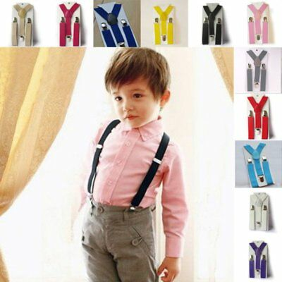 Kids Boy Girl Clip-on Suspenders Solid Adjustable Elastic Braces Pants Strap UK