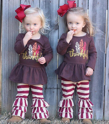 US Thanksgiving Toddler Kids Baby Girl Dress Tops Stripe Pants Outfits Set 1-6Y