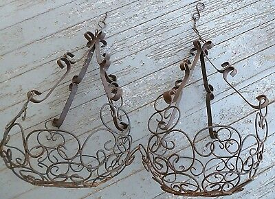 2 vtg black Ornate Iron Wire HANGING PLANT HOLDERS Shabby Rusty Deck Hangers