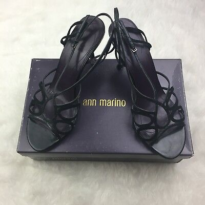 Ann Marino Acapulco Kidskin-suede Black Women Sandal Heel Size 9 With Box