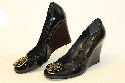 Tory Burch Womens 8 Sally Black Patent Leather Wedge Heels Pumps Shoes A8A acte