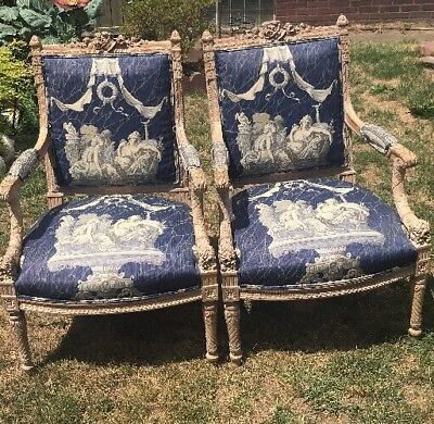 STUNNING PAIR FRENCH LOUIS XVI Style ARM CHAIRS Beautiful Wood Carving Preowed