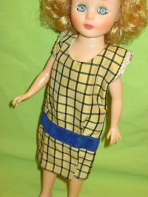 "VINTAGE 1958 American Character 10 1/2"" TONI Fashion Doll CHARLESTON Plaid Dress"