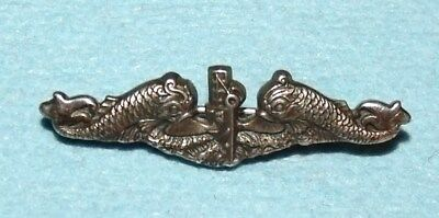 """Vintage Balfour Sterling Silver WWII Navy Submarine Pin, 1-B; Dolphins; 1 3/8"""""""