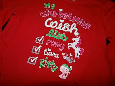 CHRISTMAS Shirt Girls Jumping Beans Long Sleeve Top Christmas LIST Size 2T Red